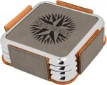 Leatherette Square Coaster Set with Silver Edge -Gray Employee Awards