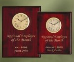 Piano Finish Wood Plaque Clock Executive Gift Awards