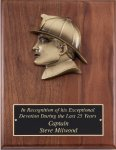 Genuine Walnut Plaque with Fireman Silhouette Casting Fire and Safety Awards