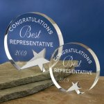 Freestanding Crystal Patriotic Awards